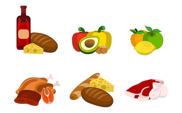 Set von food icons