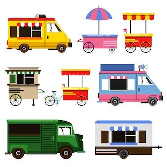 Set von food trucks und fahrrädern für die kommerzielle nutzung