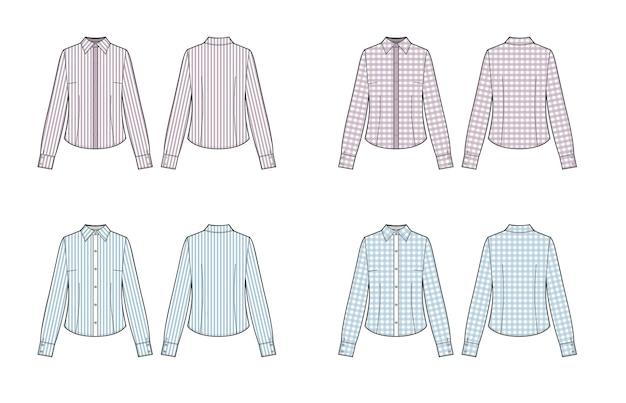 Set von formellen langärmeligen blusen für die dame. vektor-illustration.