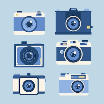 Set von fotokameras in flachen design