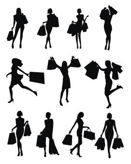 Set von frauen-shopping-silhouetten auf weißem hintergrund