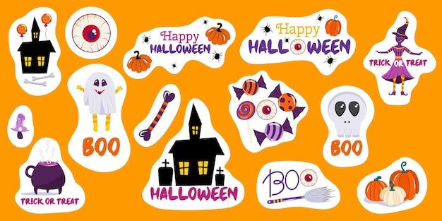 Set von freiform-halloween-aufklebern mit kürbissen, einem gruseligen haus, einem hexenschädel und fröhlichem halloween