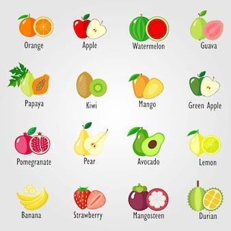 Set von früchten icon-sammlung vektor-illustration von cartoon-früchten und beeren isoliert auf weiß