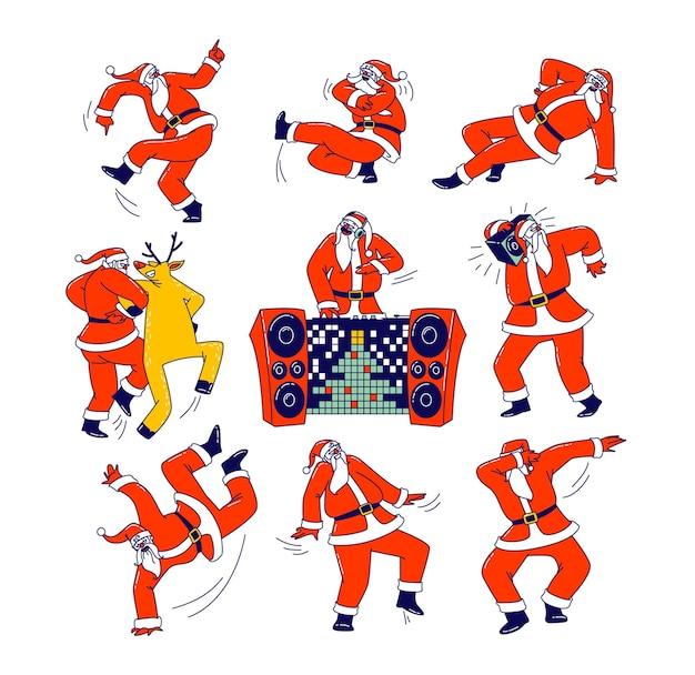 Set von funny santa claus und reindeer dancing