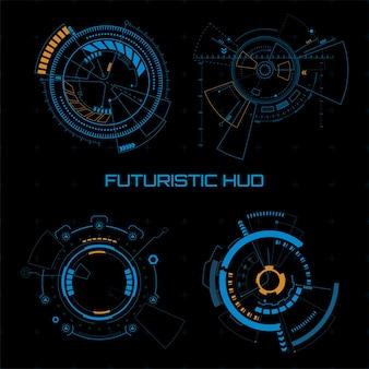 Set von futuristischen sci-fi-benutzeroberflächen auf dunklem hintergrund