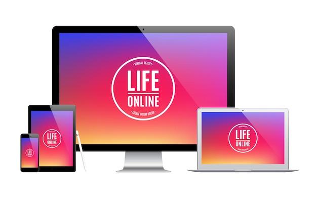 Set von gadgets und geräten mit farbigem bildschirmschoner