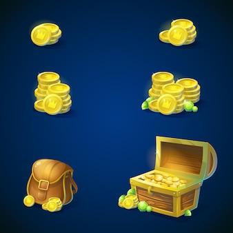 Set von gegenständen - stapel goldmünzen, offene truhe mit goldmünzen, glänzend grüne smaragde, ledertasche. vektorillustration.