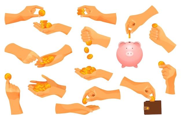 Set von geldoperationen mit goldmünzen