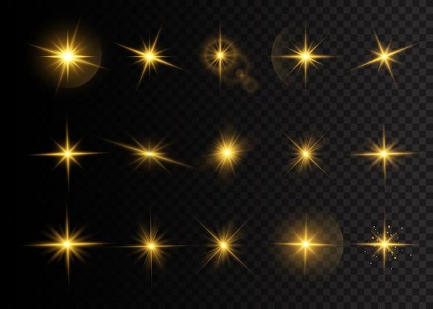 Set von geplatzten sternen mit brillanz. gelb leuchtende lichter sterne. ein sonnenblitz mit strahlen und scheinwerfer. spezialeffekt isoliert auf transparentem hintergrund.