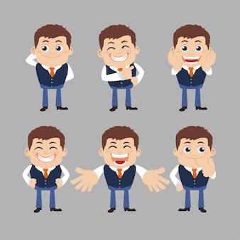 Set von geschäftsmannfiguren in verschiedenen posen