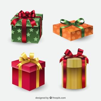 Set von geschenkboxen mit bögen