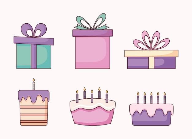 Set von geschenkboxen und süßen kuchen