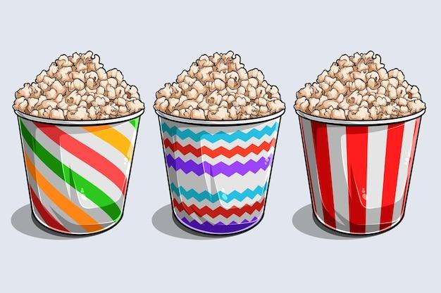 Set von gestreiften boxen container mit leckerem leckeren popcorn isoliert auf weißem hintergrund