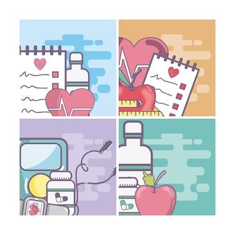 Set von gesundheit und medizin karten