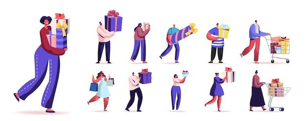 Set von glücklichen menschen, die verpackte geschenkboxen tragen