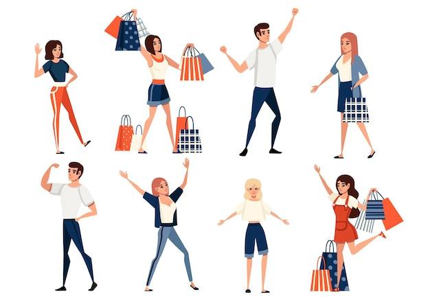 Set von glücklichen menschen, männer und frauen, die freizeitkleidung und eine frau mit einkaufstüten tragen