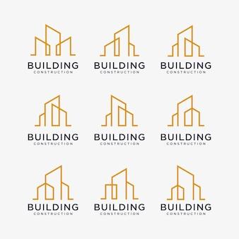 Set von goldenen baulogodesigns baulogodesign mit strichzeichnungsstil