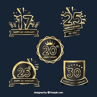 Set von goldenen jubiläumsabzeichen