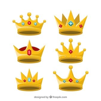 Set von goldenen kronen mit edelsteinen