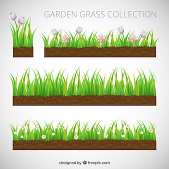 Set von gras mit blumen