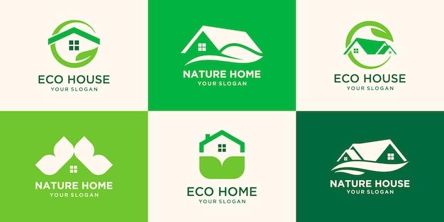 Set von green home- und real estate-logo-design, hauslogo, ökologie-logo für pflege, vermietung und verkauf von maklerimmobilien