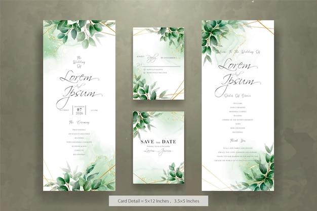Set von greenery hochzeitseinladungen mit sechseckigem laubrahmen