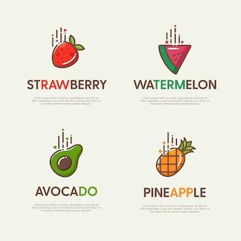 Set von großen logos mit dekorativen flachen früchten