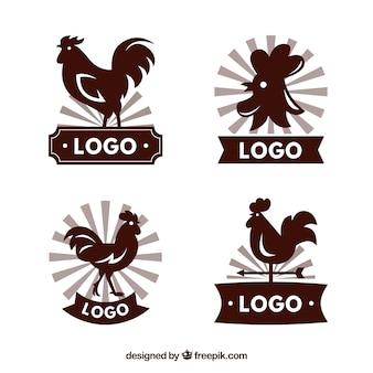 Set von großen logos mit hahn silhouetten