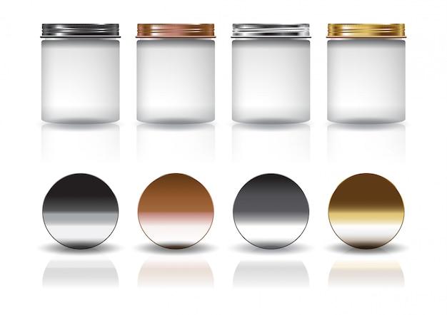 Set von großen weißen kosmetik runden glas mit schwarz-kupfer-silber-gold deckel modell vorlage.