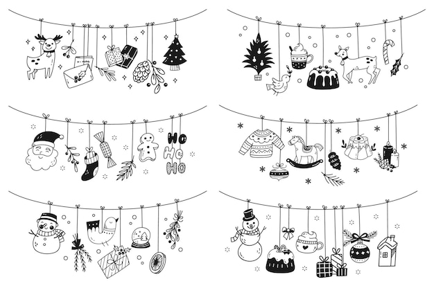 Set von hängenden weihnachtsdeko-doodles