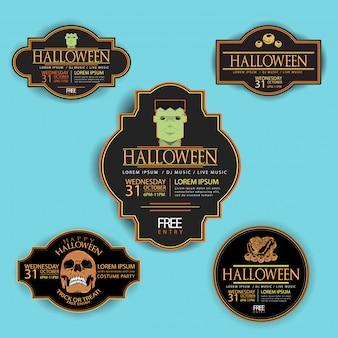 Set von halloween abzeichen