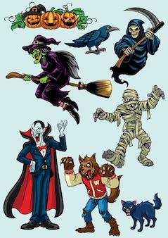 Set von halloween charakter