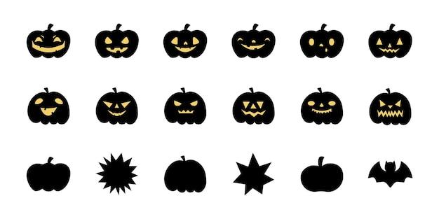 Set von halloween-gruseligen kürbissen. gespenstische gruselige kürbisse des flachen stilvektors