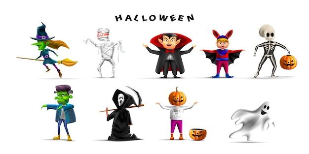 Set von halloween-kostüm-party-cartoon-figur in realistischem 3d-vektor
