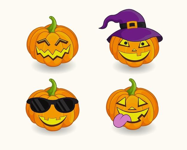Set von halloween-kürbis symbol des glücklichen halloween-urlaubs design für die herbst-oktober-party