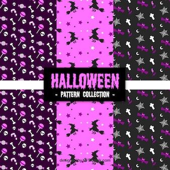 Set von halloween-mustern mit lila tönen