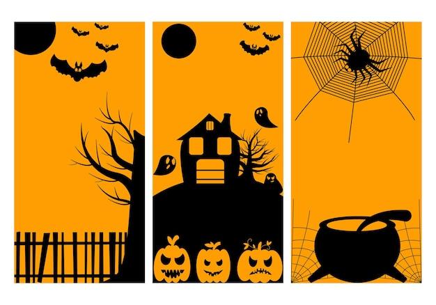 Set von halloween-party-einladungen oder grußkarten mit traditionellen symbolen.