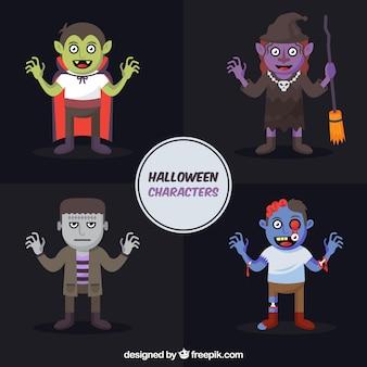Set von halloween-party-figuren in flachem design