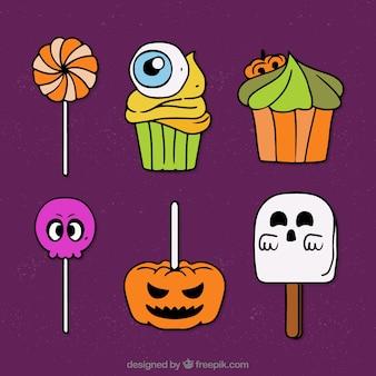 Set von halloween süßigkeiten und lutscher
