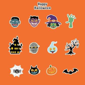 Set von halloween-symbolen-aufklebern enthält viele monster-charaktere