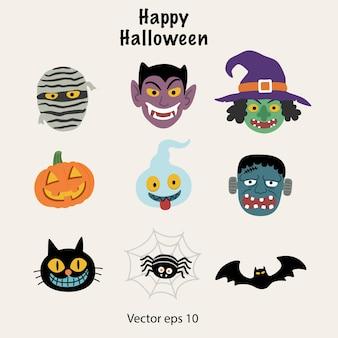 Set von halloween-symbolen enthält viele monster-charaktere