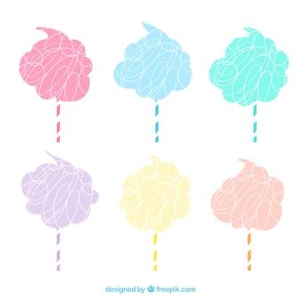 Set von hand farbigen süßigkeiten cottons