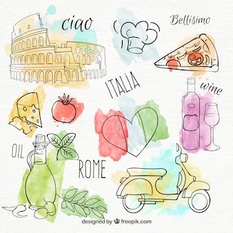 Set von hand gemalt italienische produkte