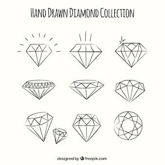 Set von hand gezeichnet diamanten