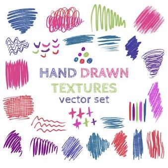 Set von hand gezeichnet kritzeln texturen sammlung von pinsel strokescolor flecken
