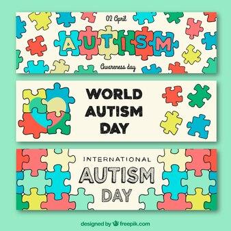 Set von hand gezeichnet puzzleteile banner