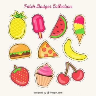 Set von hand gezeichnet sommer patches