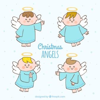 Set von hand gezeichnet weihnachtsengel