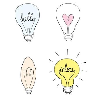 Set von hand gezeichnete glühbirnen
