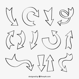Set von hand gezeichneten pfeilen